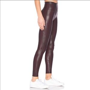 Spanx Faux Leather Leggings in Color Wine